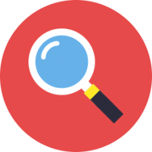 Red circle with a magnifying glass inside